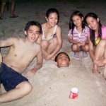 Enjoying the whitish sand of Laiya