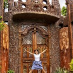Gerlie in front of the wooden gate going to Pavilion Patricia