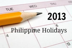 List of holidays in the Philippines for 2013