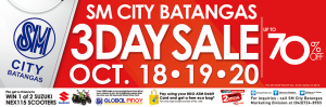 SM City Batangas 3-Day Sale October 18-20