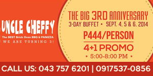 P444 Buffet at Uncle Cheffy Lipa from September 4-6, 2014