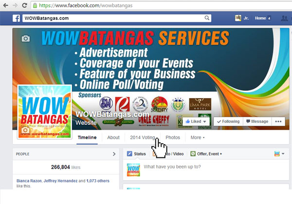 Voting 2014 App at WOWBatangas Facebook