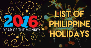 2016 List of Philippine Holidays