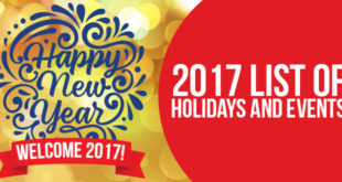 List of 2017 Holidays and Events